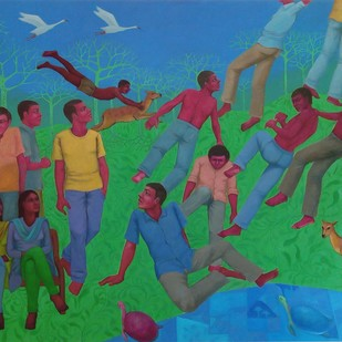 RE-FORMATION 03 by Partha Mondal, Traditional Painting, Oil & Acrylic on Canvas, Green color