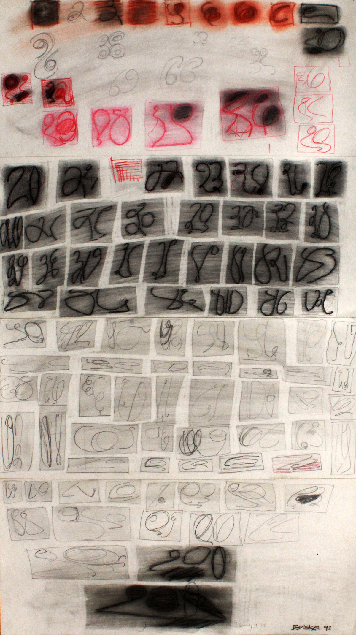 Numerical by Bhaskar Hande, Abstract Drawing, Pencil on Paper, Beige color