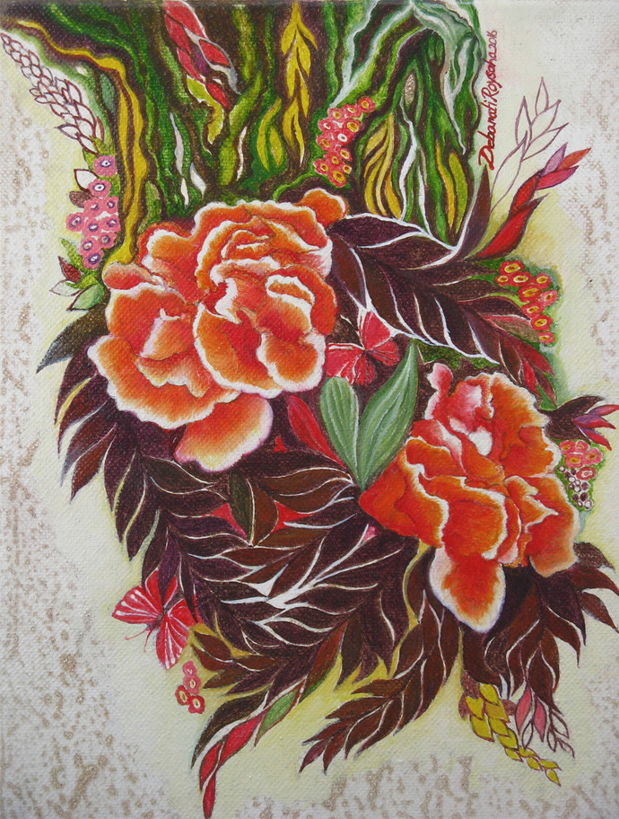 Wild Flower 3 by Debarati Roy Saha, Impressionism Painting, Oil Pastel on Canvas, Red color
