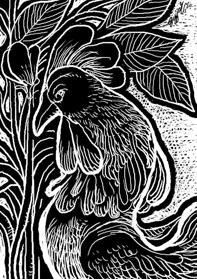 cock in the garden by Gujjarappa B G, Digital Digital Art, Digital Print on Canvas, Gray color