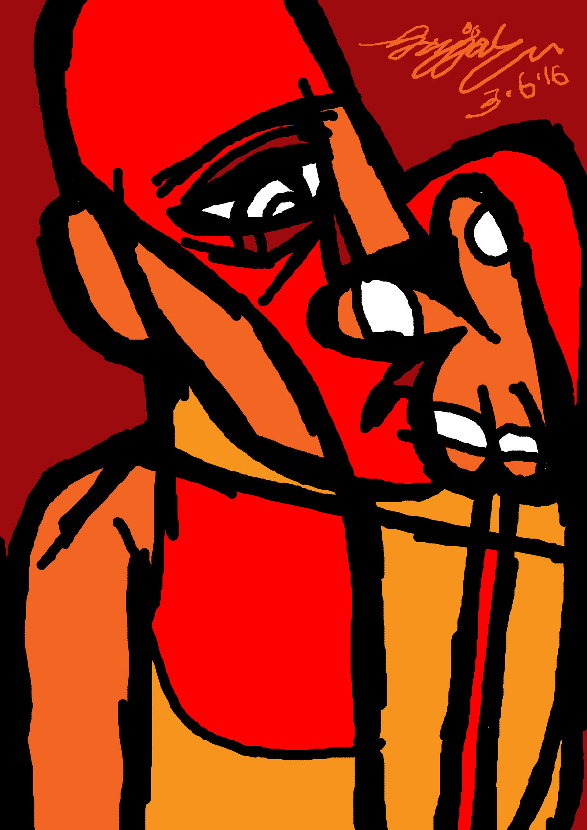 thinking by Gujjarappa B G, Expressionism Digital Art, Digital Print on Canvas, Brown color