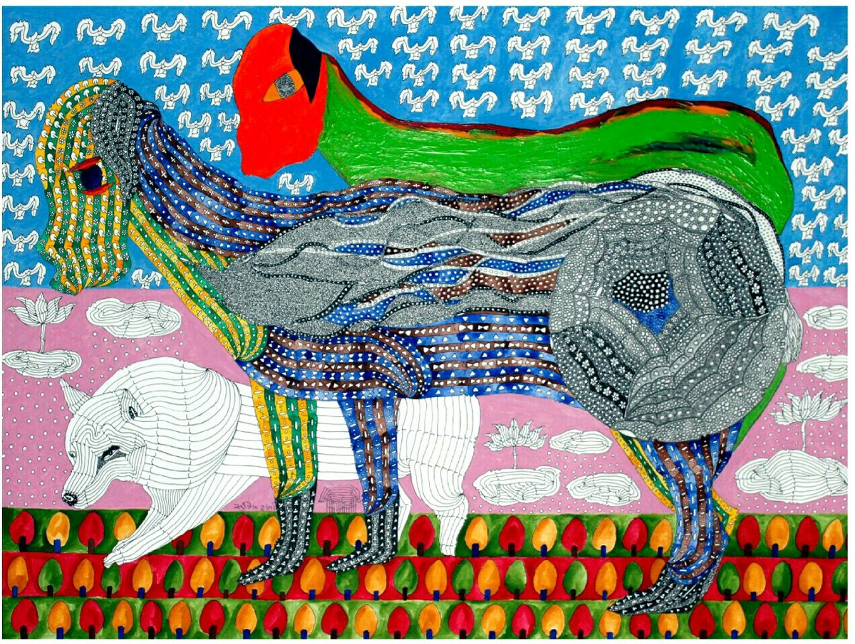 Looking for a space by Supriy Sharma, Traditional Painting, Mixed Media on Paper, Green color