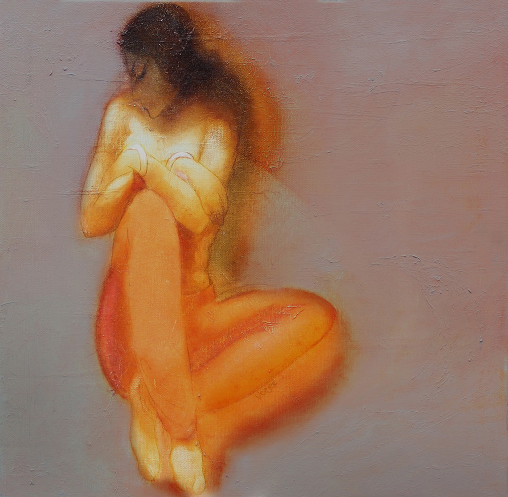 Hope 05 by Vijaylaxmi D Mer, Impressionism Painting, Mixed Media on Canvas, Brown color