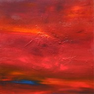Beginning by Neena Singh, Abstract Painting, Acrylic on Canvas, Red color