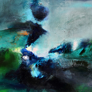 yearning by Neena Singh, Abstract Painting, Acrylic on Canvas, Green color