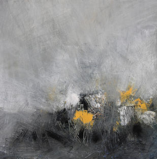 From darkness to light by Neena Singh, Abstract Painting, Acrylic on Canvas, Gray color