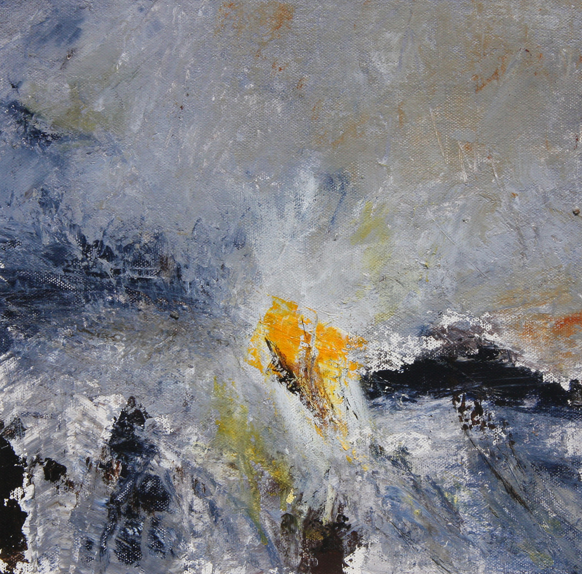 when dawn breaks by Neena Singh, Abstract Painting, Acrylic on Board, Gray color