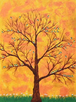 Pakhban by Sumit Mehndiratta, Impressionism Painting, Acrylic on Canvas, Orange color