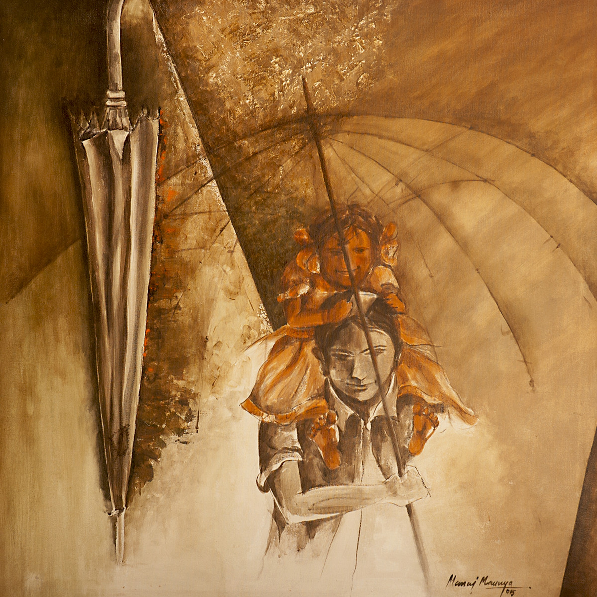 Umbrella by Manoj Mauryaa, Expressionism Painting, Acrylic on Canvas, Brown color