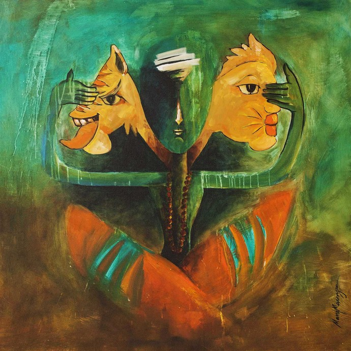 Balance by Manoj Mauryaa, Fantasy Painting, Acrylic on Canvas, Green color