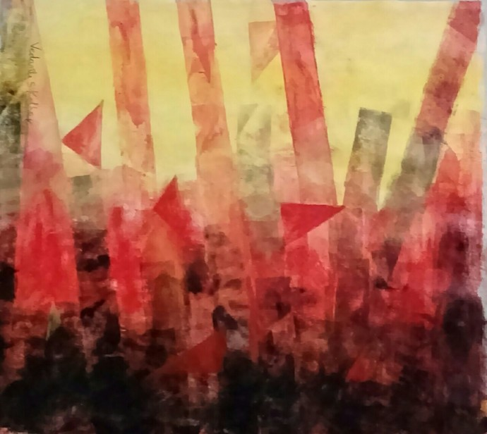 The Element-B by Vedanti S Kolhe, Abstract Painting, Acrylic on Canvas, Brown color