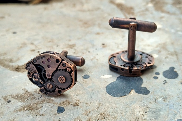 Watch Mechanism Cuff-Links by KRITHAA, Accessories