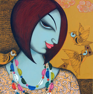 Today face1 by Varsha Kharatmal, Expressionism Painting, Acrylic & Ink on Canvas, Brown color