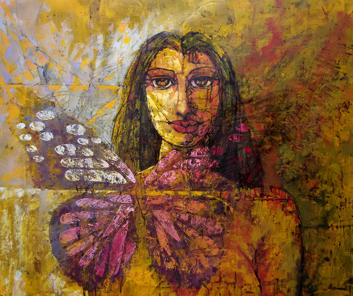 In depth from Mind by Ram Thorat, Expressionism Painting, Acrylic on Canvas, Brown color