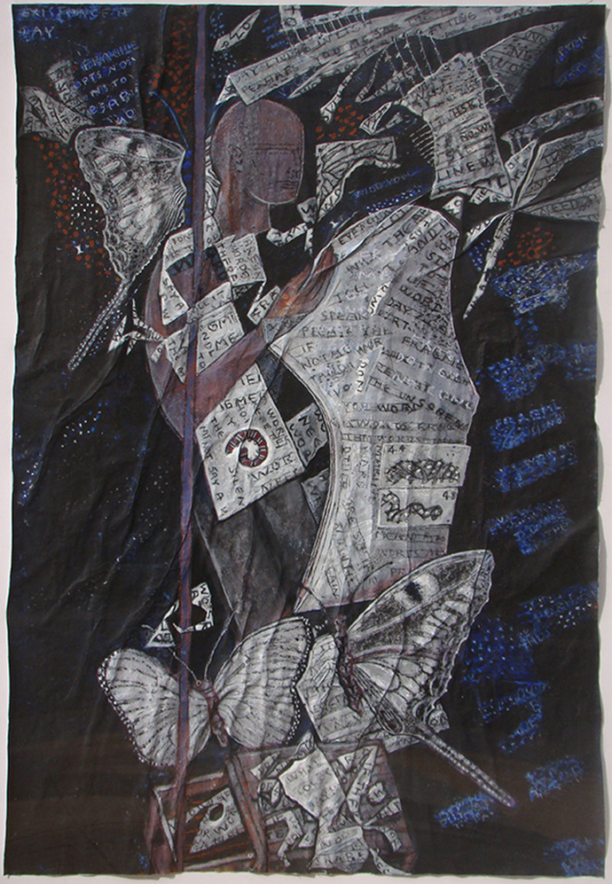 untitled by C Douglas, Expressionism Painting, Mixed Media on Paper, Gray color
