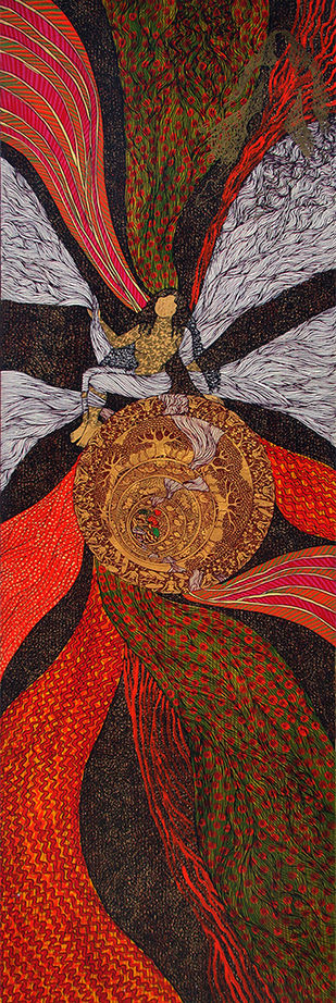 Untitled by Seema Kohli, Traditional Painting, Acrylic on Canvas, Brown color