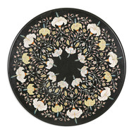 Floral Inlay Tabletop, Round Furniture By Carved Additions
