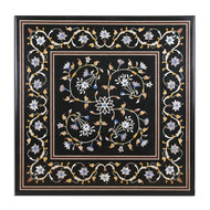 Lush Floral Inlay Tabletop Furniture By Carved Additions