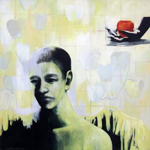 FRAMED ANGEL by Sajal S. Sarkar, Fantasy Painting, Acrylic on Canvas, Beige color