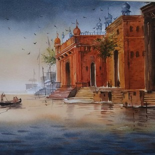 Varanasi by Nibedita Basu, Realism Painting, Watercolor on Paper, Brown color