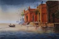 Varanasi by Nibedita Basu, Realism Painting, Watercolor on Paper, Brown color