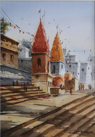 Varanasi by Nibedita Basu, Impressionism Painting, Watercolor on Paper, Brown color