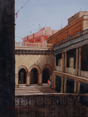 kolkata by Nibedita Basu, Realism Painting, Watercolor on Paper, Brown color