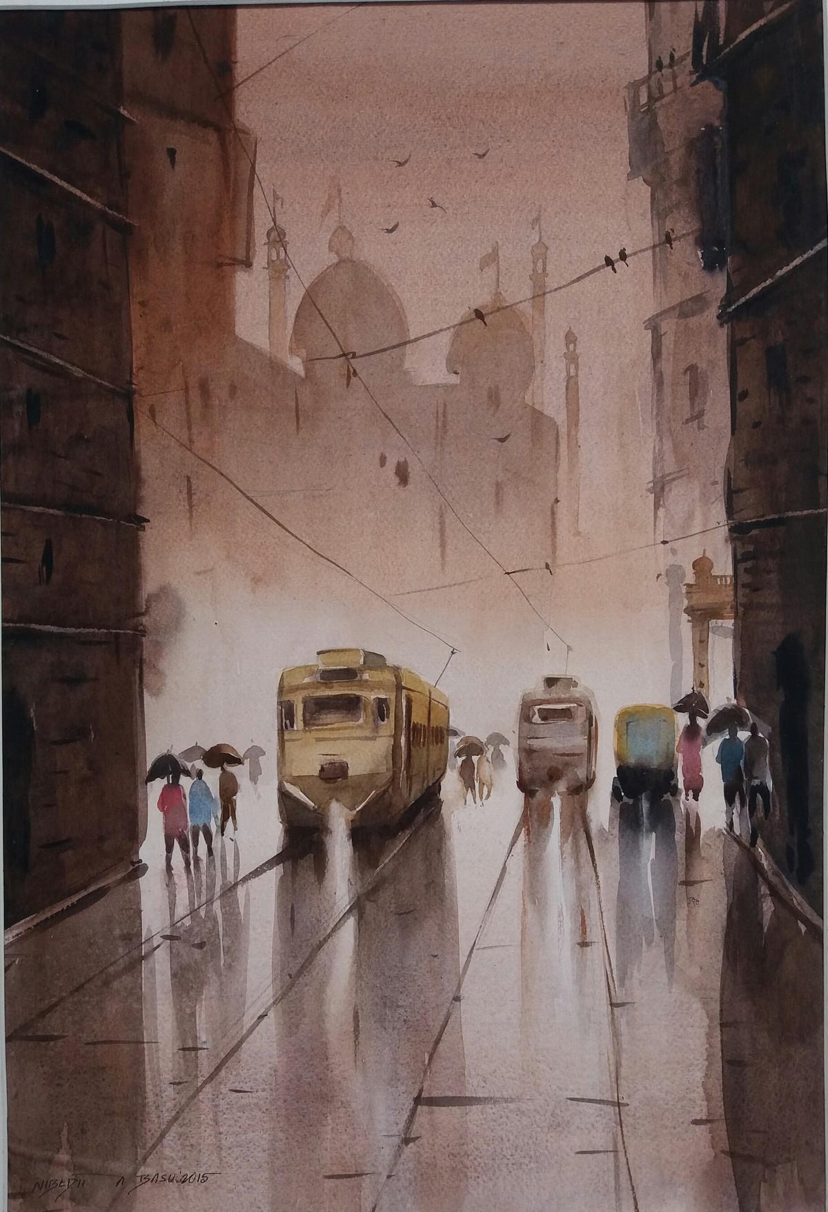 Kolkata by Nibedita Basu, Impressionism Painting, Watercolor on Paper, Brown color