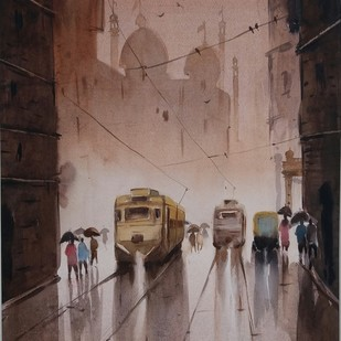 Kolkata by Nibedita Basu, Impressionism Painting, Watercolor on Paper, Brown color