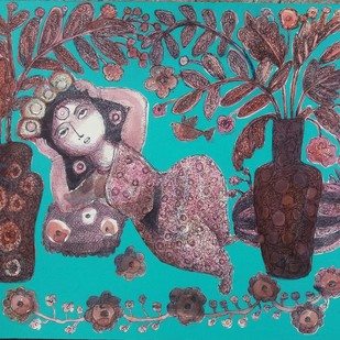 Mother Nature by Nibedita Basu, Decorative Painting, Acrylic on Board, Cyan color
