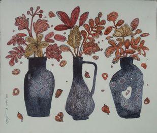 Three Sisters by Nibedita Basu, Decorative Painting, Mixed Media on Board, Gray color
