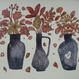 Three Sisters by Nibedita Basu, Decorative Painting, Mixed Media on Board, Gray color
