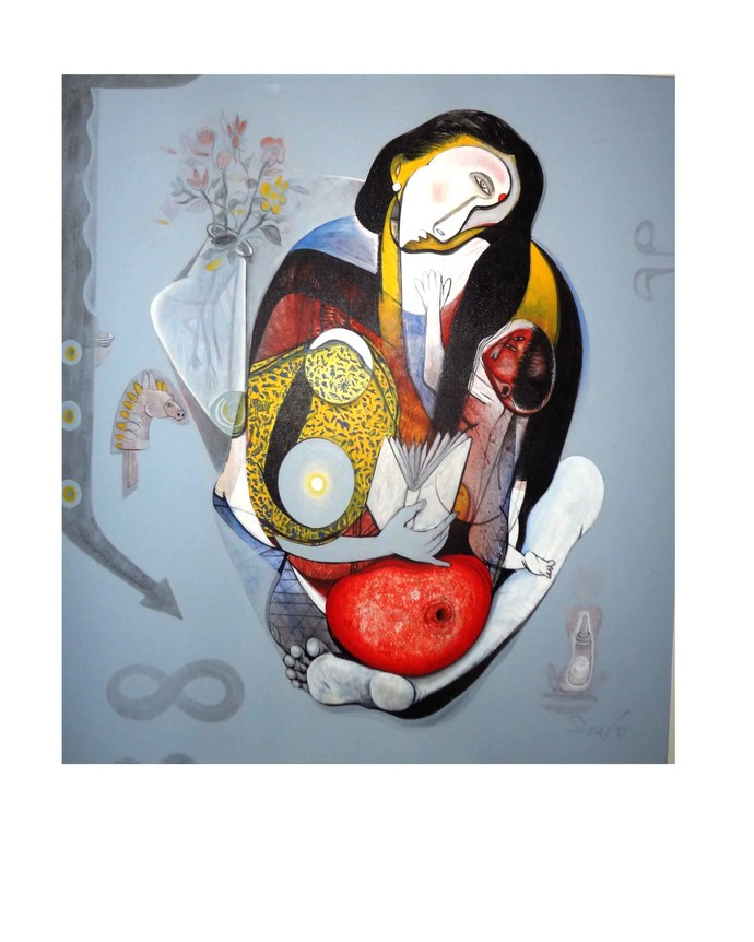 Mother & Child by Mahesh Pal Gobra, Surrealism Painting, Acrylic on Canvas, White color