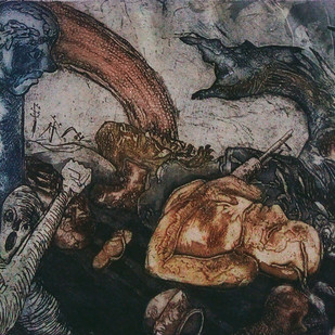 Consequences by Pranjal Bhuyan, Impressionism Printmaking, Etching and Aquatint, Gray color