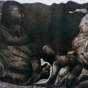 Ups and Down 11 by Pranjal Bhuyan, Impressionism Printmaking, Etching and Aquatint, Gray color
