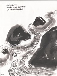 Water Flowing by Satish Gupta, Illustration Drawing, Ink on Paper, Black color