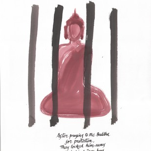 After Praying to the Buddha by Satish Gupta, Illustration Drawing, Ink on Paper, Black color