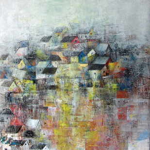 Distant View by M Singh, Impressionism Painting, Acrylic on Canvas, Gray color