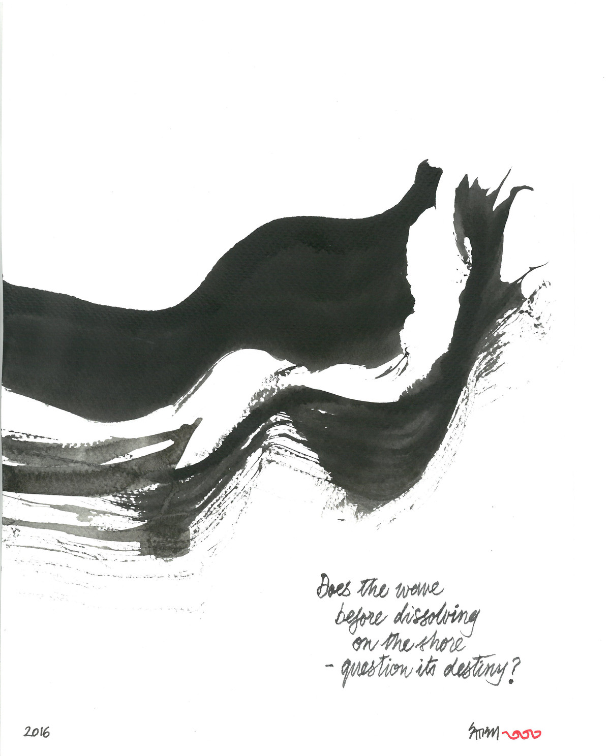 Does The Wave by Satish Gupta, Illustration Drawing, Ink on Paper, Black color