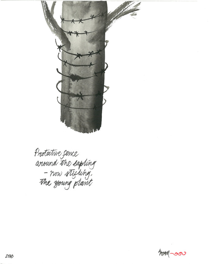 Protective Fence by Satish Gupta, Illustration Drawing, Ink on Paper, Black color