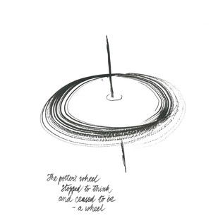 The Potter's Wheel by Satish Gupta, Illustration Drawing, Ink on Paper, Black color