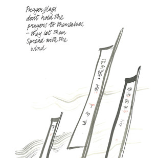 Prayer Flags by Satish Gupta, Illustration Drawing, Ink on Paper, Black color