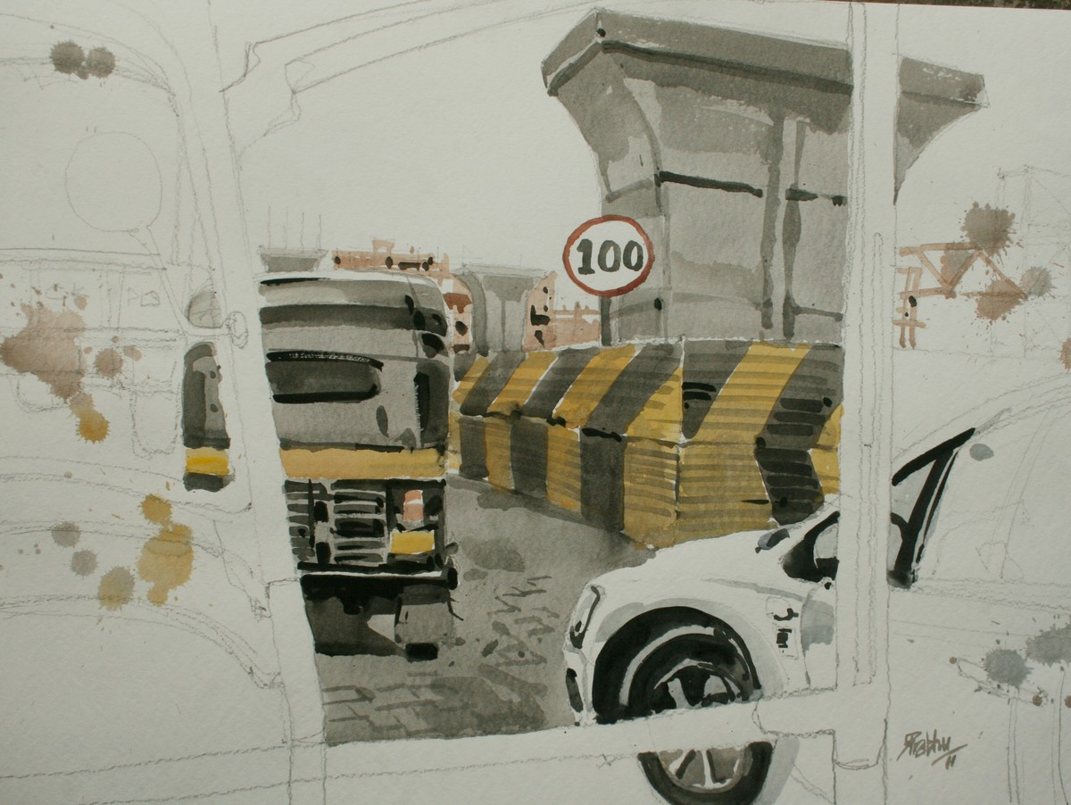 MPH _ Miles or meters per hour? by Prashant Prabhu, Impressionism Painting, Watercolor on Paper, Beige color