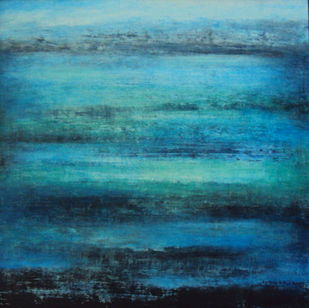 untitled by P. Saraswati, Abstract Painting, Acrylic on Canvas, Cyan color