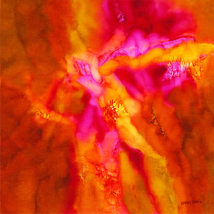 RAGA by Bhanu Shah, Abstract Painting, Oil on Canvas, Red color
