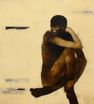 Untitled by Ritesh Warambhe, Expressionism Painting, Acrylic on Canvas, Beige color