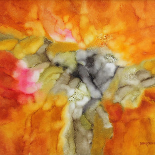 RAGA by Bhanu Shah, Abstract Painting, Oil on Canvas, Orange color