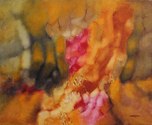 RAGA by Bhanu Shah, Abstract Painting, Oil on Canvas, Brown color