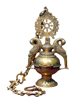 Brass Hang inchg Diya 8 inch x 8 inch x 13.5 inch Accessories By IMLI STREET