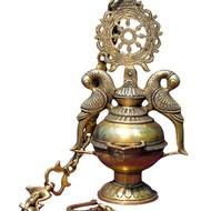 Brass Hang inchg Diya 8 inch x 8 inch x 13.5 inch Accessories By IMLI STREET